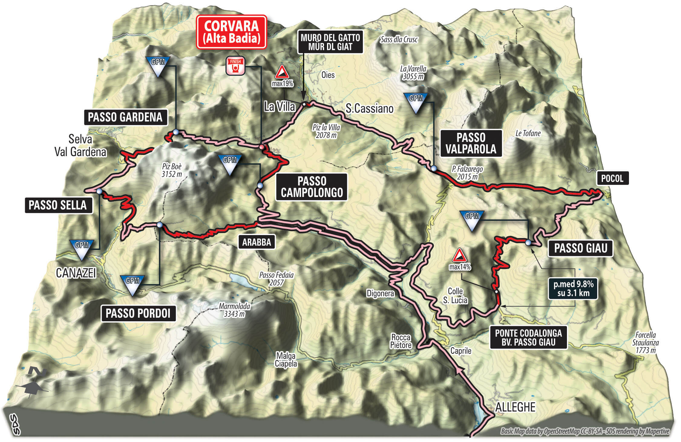 Cartina 3d Dolomiti.The Pink Caravan Will Cross The Roads That Have Made The Name And Fame Of Europe S Premier Gran Fondo Race